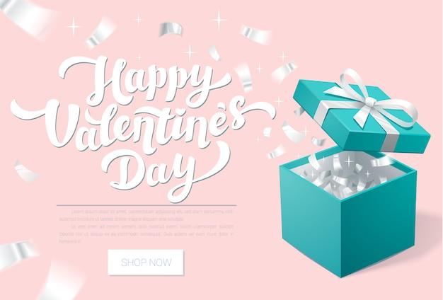 Banner promocional del día de san valentín con caja de regalo abierta y confeti plateado