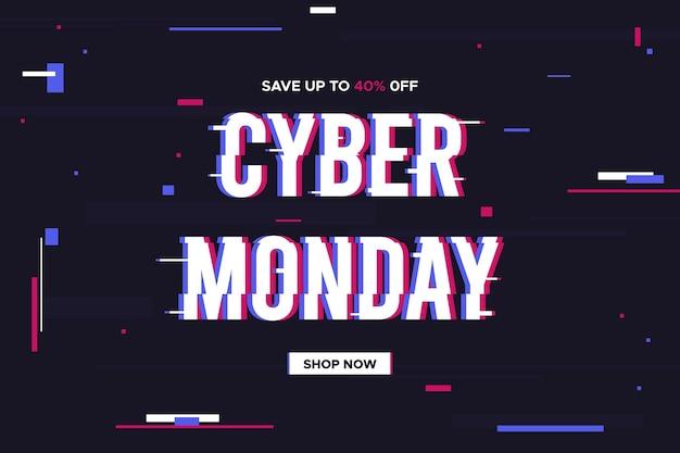 Banner promocional de glitch cyber monday