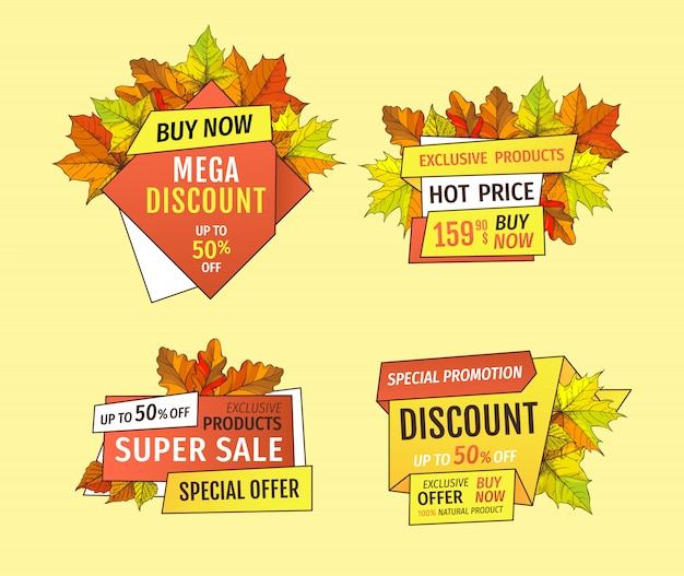 Banner promocional con hojas de arce, follaje de roble