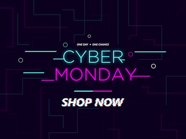Banner promocional del lunes cibernético con efecto de brillo exterior