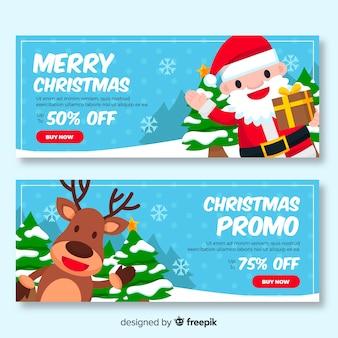 Banner promocional de navidad en diseño plano