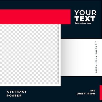 Banner promocional de redes sociales con espacio de imagen.