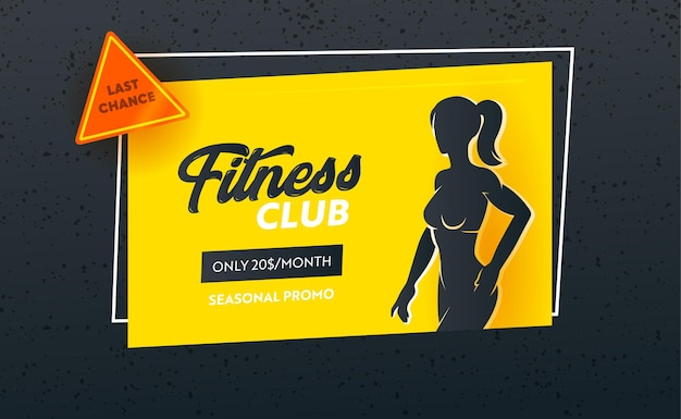 Banner promocional de temporada last chance de fitness club con silueta de cuerpo femenino slim fit