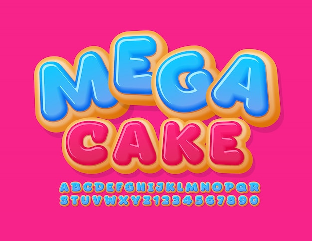 Banner promocional de vector mega venta con fuente de pastel dulce. números y letras del alfabeto de donut glaseado azul