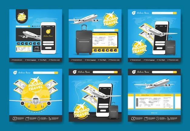Banner promocional de viajes de vacaciones para reservar un boleto de avión en línea, tarjeta de embarque, verificar la salida.
