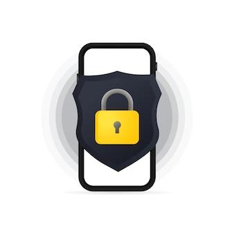 Banner de protección de datos de privacidad de smartphone. concepto seguro de datos confidenciales. vector sobre fondo blanco aislado. eps 10.