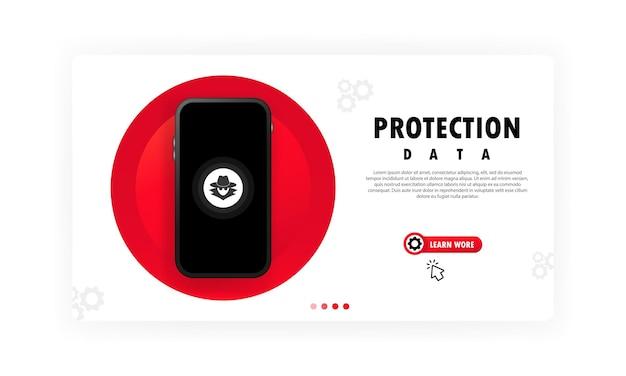 Banner de protección de datos de teléfonos inteligentes. concepto seguro de datos confidenciales. vector sobre fondo blanco aislado. eps 10.