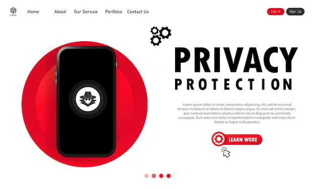 Banner de protección de privacidad de teléfonos inteligentes. sistema seguro. datos personales confidenciales. vector sobre fondo blanco aislado. eps 10.