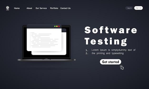 Banner de prueba de software o desarrollo, programación, codificación en la ilustración de la computadora portátil.