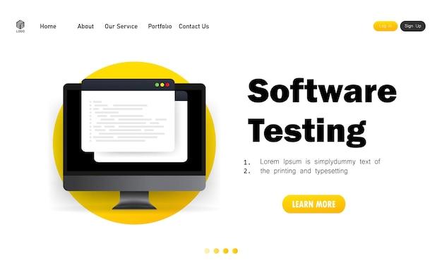 Banner de pruebas de software y desarrollo, programación, codificación en la ilustración de la computadora.