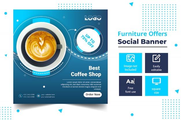 Banner de publicación de cafetería de redes sociales