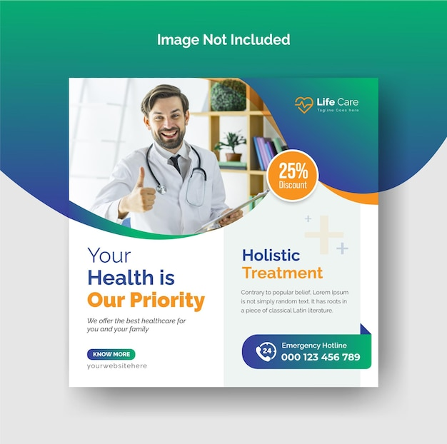 Banner de publicación de instagram médico y de salud o plantilla de volante cuadrado vector premium