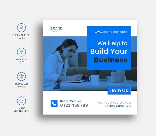Banner y publicación de instagram de redes sociales de negocios corporativos minimalistas