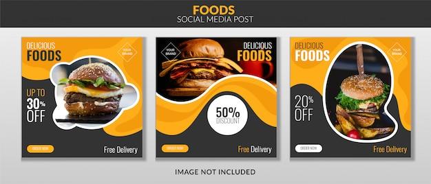 Banner de publicación de redes sociales de alimentos