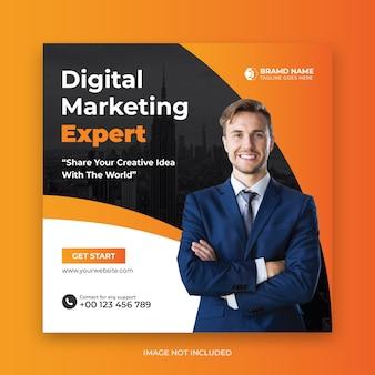 Banner de publicación de redes sociales de experto en marketing digital o folleto cuadrado