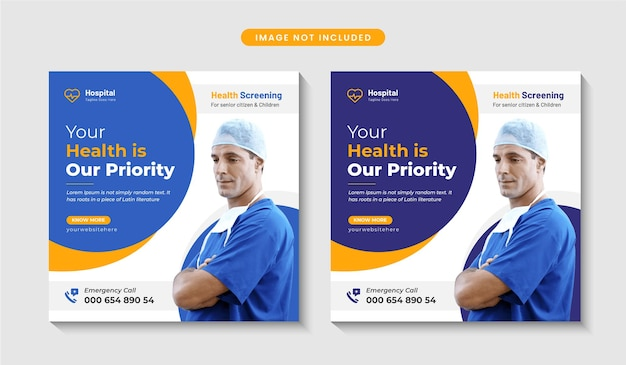 Banner de publicación de redes sociales médicas y de atención médica o diseño de volante cuadrado