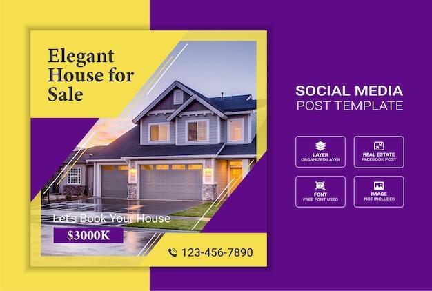 Banner de publicación de redes sociales de venta de casas de bienes raíces