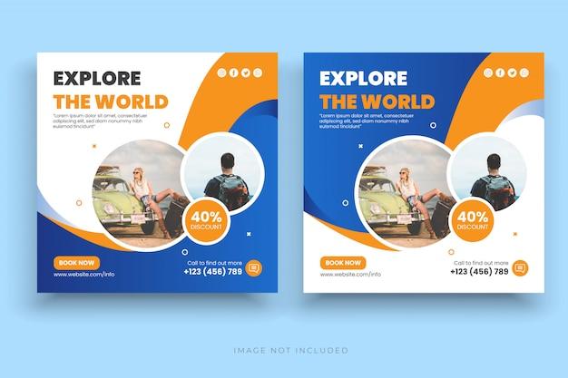 Banner de publicación de vacaciones de vacaciones de viaje o folleto cuadrado