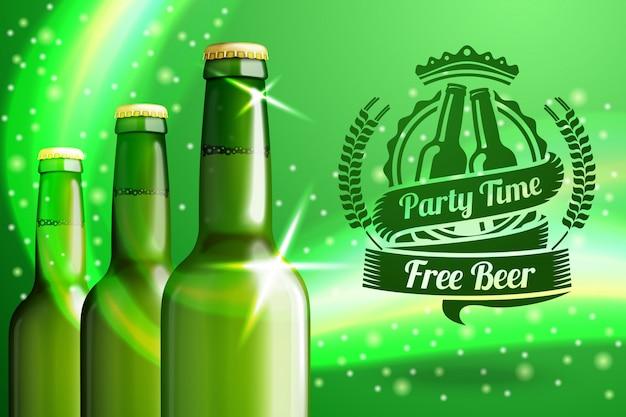 Banner para publicidad de cerveza con tres botellas de cerveza verde realistas y etiqueta de cerveza con lugar