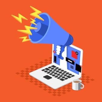 Banner de publicidad de concepto de dibujos animados de ilustración en sitio web molesto.