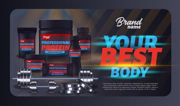 Banner de publicidad de contenedores de productos de nutrición deportiva.