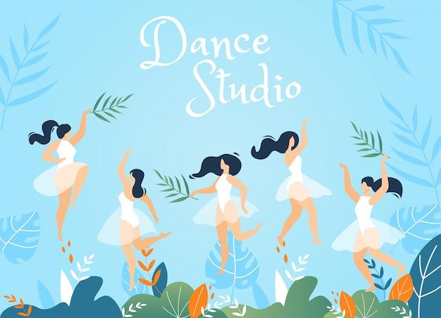 Banner de publicidad de dance studio con mujeres jóvenes