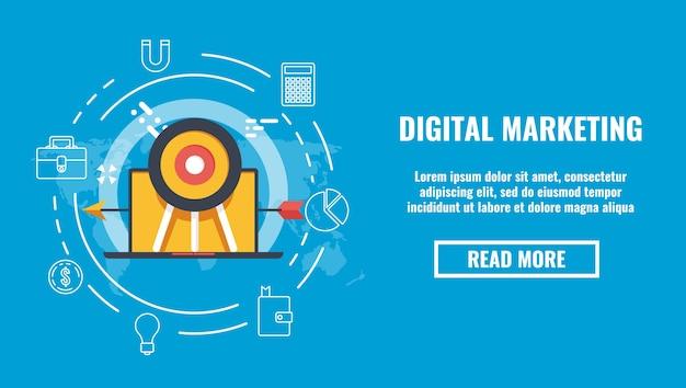 Banner de publicidad de destino, marketing digital, objetivo de negocio, mapa mundial de destino de portátil