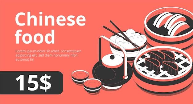 Banner de publicidad isométrica en línea de comida tradicional china con ceremonia del té, tetera, rollos de sushi, albóndigas al vapor