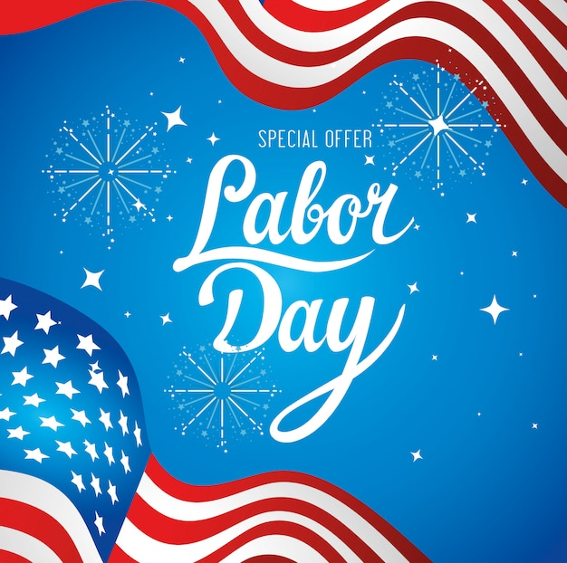Banner de publicidad de promoción de venta del día del trabajo, con bandera de estados unidos