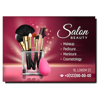 Banner de publicidad de salón de belleza y cosmetología