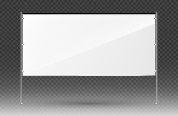 Banner publicitario blanco. banner rectangular con construcción metálica aislada sobre fondo transparente