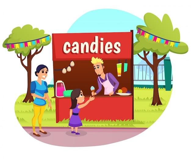 Banner publicitario caramelos letras dibujos animados plana.