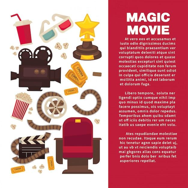 Banner publicitario de cine con equipamiento cinematográfico simbólico.