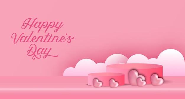 Banner publicitario del día de san valentín con podio, exhibición de productos, cilindro 3d e ilustración en forma de corazón y estilo de corte de papel de nube