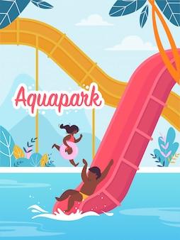 Banner publicitario escrito en aquapark cartoon