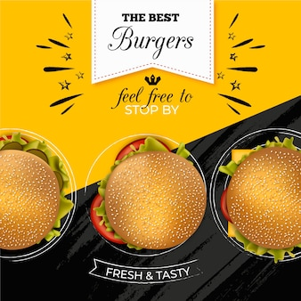 Banner publicitario de hamburguesas