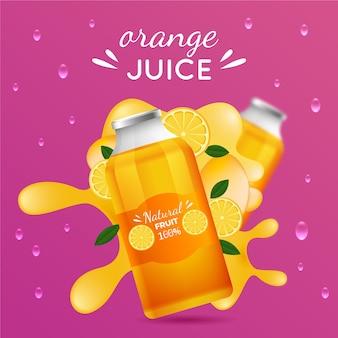 Banner publicitario de jugo de naranja
