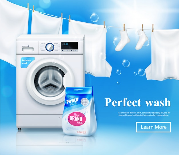 Banner publicitario de lavadora con imágenes realistas de lavadora y detergente para ropa con texto y botón en el que se puede hacer clic