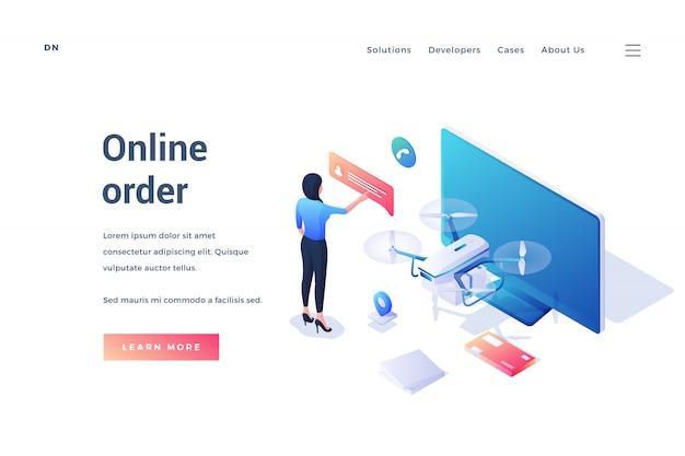 Banner publicitario moderno servicio de pedidos en línea