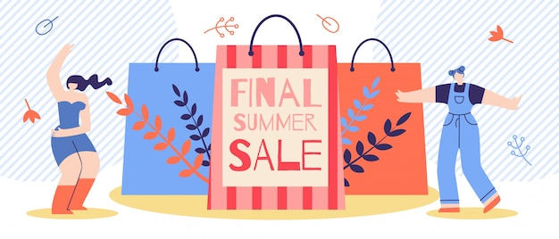 Banner publicitario plano final verano venta de dibujos animados.