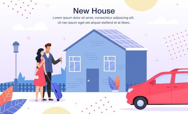 Banner publicitario plano para préstamos hipotecarios para familias