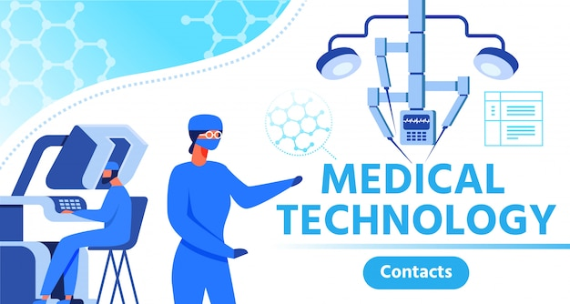 Banner publicitario presentando tecnología médica.