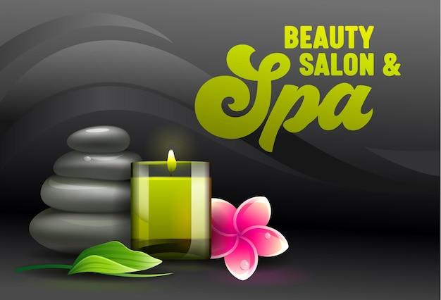 Banner publicitario del salón de belleza, vista frontal de los atributos del spa como velas aromáticas, piedras de masaje, hojas de eucalipto y flores de plumeria frangipani sobre fondo negro
