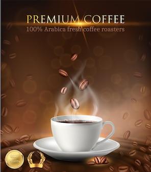 Banner publicitario de taza de café con granos de café y etiquetas doradas.