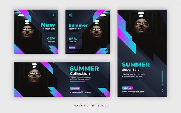 Banner publicitario web de verano para redes sociales con portada de facebook e historia de instagram