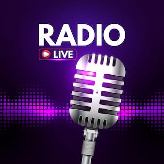 Banner de radio con música en vivo.