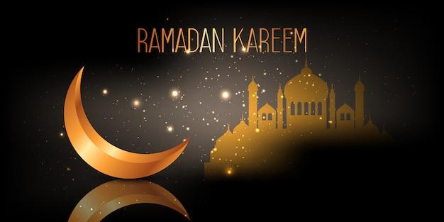 Banner de ramadán kareem con diseño de media luna y mezquita