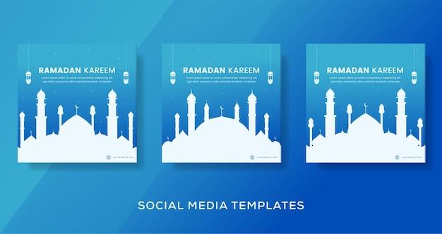 Banner de ramadan kareem para publicación en redes sociales