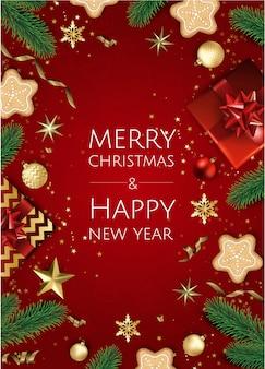 Banner con ramas de árboles de navidad, estrellas doradas, bolas de navidad y espacio para texto,