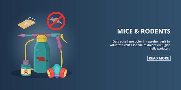 Banner de ratones y roedores horizontal, estilo cartoon.